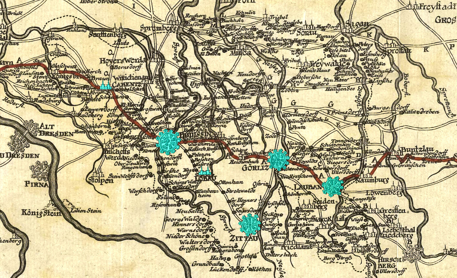 "Route der ""via regia"" 1732"